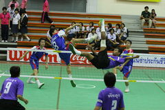 Sepak Takraw : Chonburigame Thailand. CHONBURI, THAILAND - December 16 : Sepak Takraw in Chonburi game Game competition among provinces in Thailand on December Royalty Free Stock Photography