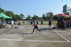 Sepak takraw competition. Within rural Stock Image