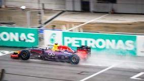 SEPANG - 29-ОЕ МАРТА: Проливной дождь Sebastian Vettel Стоковая Фотография