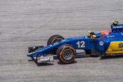 SEPANG - 27-ОЕ МАРТА: Felipe Nasr в последней кривой Стоковая Фотография