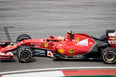 SEPANG - 28-ОЕ МАРТА: Kimi Räikkönen в последней кривой Стоковая Фотография RF