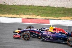 SEPANG - 28. MÄRZ: Daniel Ricciardo in der letzten Kurve Lizenzfreie Stockfotos