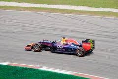 SEPANG - 28 MAART: Sebastian Vettel om laatste kromme te zijn Stock Foto