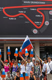 SEPANG, MALAYSIA - APRIL 10: Russian fans at Formula 1 GP, April Stock Image