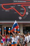 SEPANG MALAYSIA - APRIL 10: Ryss fläktar på GP för formel 1, April Fotografering för Bildbyråer