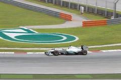 Nico Rosberg skriver in vänd 1 på malaysisk GP F1 Arkivbilder
