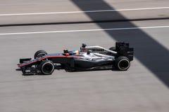 SEPANG - MARCH 27: Fernando Alonso in sector 3. SEPANG - MARCH 27: Fernando Alonso of McLaren Honda at 2015 Formula 1 Petronas Malaysia Grand Prix Second Stock Image