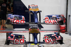 SEPANG - MARCH 28: Front wing of Scuderia Toro Rosso. At 2014 Formula 1 Petronas Malaysia Grand Prix Days 1 End at Sepang circuit on March 28, 2014 in Sepang Stock Photo