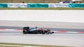 SEPANG - MARCH 27: Jenson Button in sector 2. SEPANG - MARCH 27: Jenson Button of McLaren Honda at 2015 Formula 1 Petronas Malaysia Grand Prix Second Practice Stock Photos