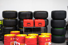 SEPANG - MARCH 28: Wheels ,Tire and oil Stock Images