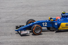 SEPANG - 27 MARZO: Felipe Nasr in ultima curva Fotografia Stock