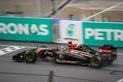 SEPANG - 29 MARZO: Romain Grosjean Driving Rain fotografie stock
