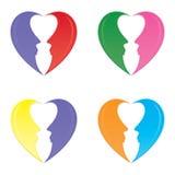 Separação das formas do coração em dois perfis humanos Fotografia de Stock