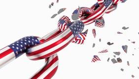 Separación de cadena quebrada de la libertad de la bandera de los E.E.U.U. deviging - representación 3d stock de ilustración