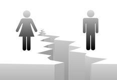 Separación de la mujer del hombre por sima de género del divorcio Imagenes de archivo