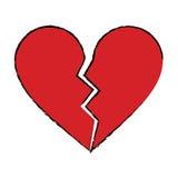 Separación triste rota corazón rojo de la historieta stock de ilustración
