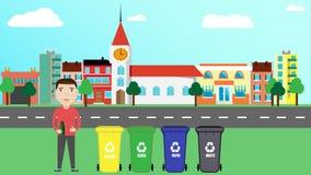 Separat avskrädeavfalls begrepp av att bearbeta avfalls och avskräde mannen står near avskrädebehållare med avfalls Royaltyfria Bilder