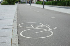 Separate bicycle lane sign in park Stock Photo