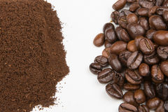 Separate Coffee beans and coffee grounds Royalty Free Stock Image