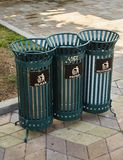 Separate collection of waste in Batumi. Different urns under Glass, Paper, Polyethylene. royalty free stock photography