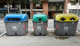 Separate waste sorting. Waste containers in the Madrid Royalty Free Stock Photo
