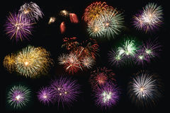 Separate firework. Separate group of multi color fireworks for easy cutting Royalty Free Stock Photo