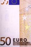 Separate fragment fifty euro bills. royalty free stock images