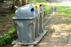 A separate garbage bin allows easy separation of waste. Separate garbage bin allows easy separation of waste Stock Photos