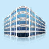 Separate office building with reflection. N perspective on blue background Stock Photos