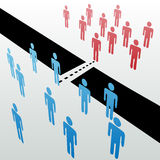 Separate people groups join unite merge together. Two separate groups find common ground to unite merge together across gap Stock Photos