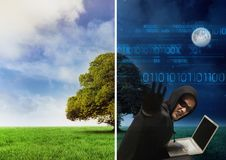 Separate picture with good weather from one perspective and dark night with hacker from another pers Stock Photography