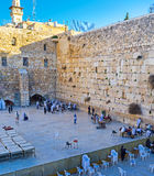 The separate pray. JERUSALEM, ISRAEL - FEBRUARY 16, 2016: The Western Wall with the fence, separating men and women sections for pray, on February 16 in Stock Photo