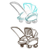 Separate retro stroller made in the thumbnail style Royalty Free Stock Images
