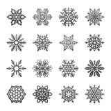 Separate Snowflakes Doodles Vector Rustic christmas clipart new year snow crystal illustration in flat style. Eps10 stock illustration