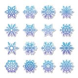 Separate Snowflakes Doodles Vector Rustic christmas clipart new year snow crystal illustration in flat style. Eps10 royalty free illustration