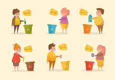 Separate sorting garbage. Vector. Royalty Free Stock Images