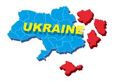 Separate Ukraine, spring events in 2014. Vector Illustration. Separate into parts of Ukraine, spring events 2014. The country is divided into regions. Vector Stock Images