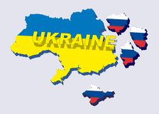 Separate Ukraine, spring events in 2014. Vector Illustration. Separate into parts of Ukraine with russian flag. spring events 2014. The country is divided into Stock Photos