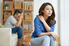 Free Separated Asian Couple In Quarrel Stock Image - 120480371