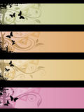 Separated banners. Four separated banner with similar design elements such as butterflys for your text Royalty Free Stock Images