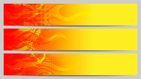 Separated banners with fire elements Stock Photos