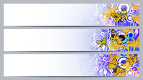 Separated banners with floral elements. And butterflys Stock Photo