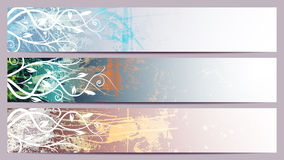 Separated banners with floral patterns Royalty Free Stock Images