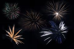 Separated Fireworks Royalty Free Stock Images