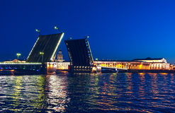 Separated Palace Bridge across river Neva Royalty Free Stock Photography
