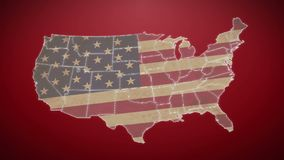 Separated United States map with US flag, red background. Stock footage stock video