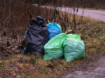 Separated waste in the forest Stock Photos