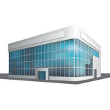Separately standing office building, business center. Detached multistory office building, business center on a white background Royalty Free Stock Photo