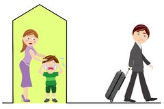 Separation. A sad illustration of a father who leaves home and her son due to divorce. Eps file is available Royalty Free Stock Images