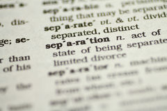 Separation. A shallow depth of field is used to focus on the word Separation Stock Photo